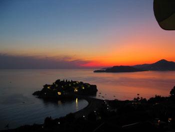 Sunset on Sveti Stefan