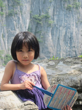 This pretty little girl hiked the Enshi Grand Canyon with her family. I was proud of her as she kept up with everyone!
