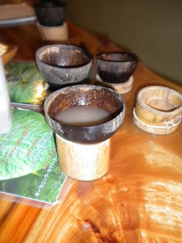 Drinking Kava from coconut shells