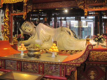 This white jade sculpture, one of two brought from Burma (now Myanmar) by a monk named Huigen in 1882, is displayed at the Jade Buddha Temple.