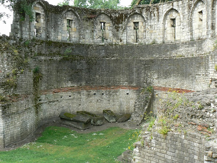 Caskets by the Roman Wall in York, England