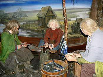 Jorvik Centre's animatronic Vikings enjoy lunch.
