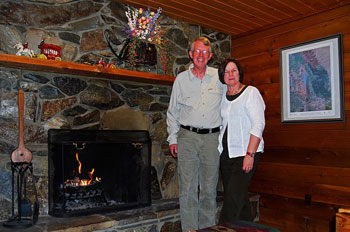 Betsy and Woody Cox at the Good Medicine Lodge in Whitefish.