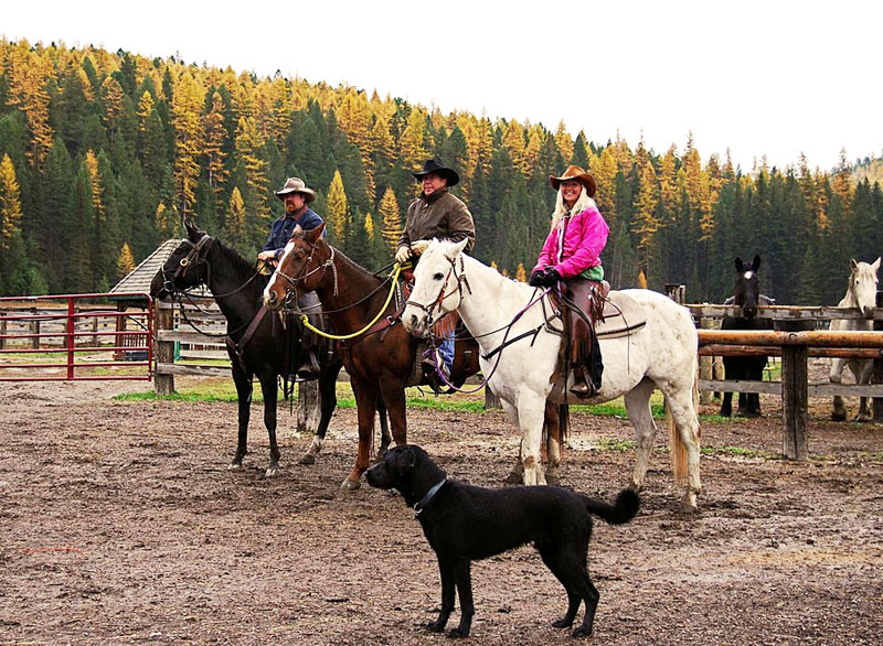 Dave, Andrew and Ashley all set to ride with us at the Bar W Guest Ranch in Whitefish, Montana.