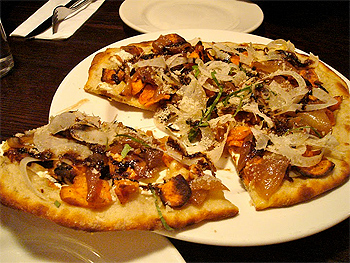 Pizza at Baba Louie's with parsnips, sweet pototoes and fennel.