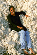 Mridula Dwivedi in a pile of cotton