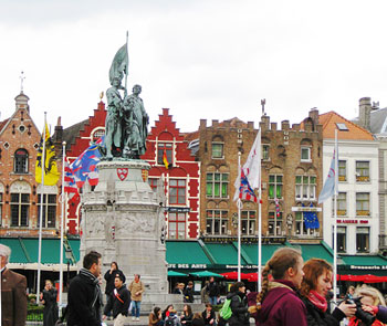 Statue of Jan Breydel and Pieter de Coninck in Bruges' Market Square. Photos by Angela Doherty.