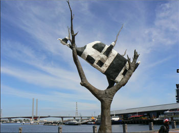 Public art is everywhere in Melbourne. Here is a piece in the Docklands.