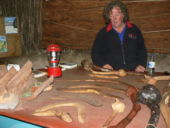 Brad West shows us boomerangs at Cape Otway Lighthouse.