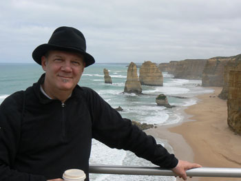 At the end of the Great Ocean Walk, with a few of the 12 Apostles behind me