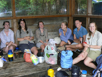 Uni girls at the Blanket Bay Campsite on the Great Ocean Walk.