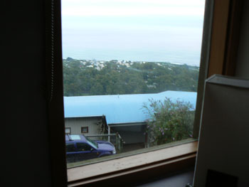 Bedroom view of the Southern Ocean from Chris's Beacon Point, Apollo Bay.