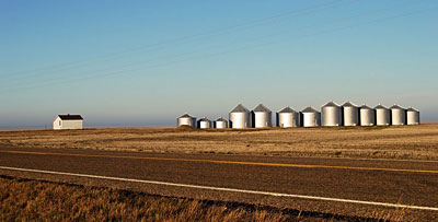 Silos by the highway near Havre