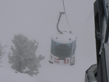 The gondola that takes skiiers all the way to the top 9600 feet, at Snowbasin.