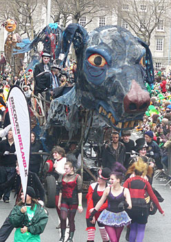 The famous black dog of depression in the Dublin St. Patrick's Day Parade. photo by Steve Hartshorne.