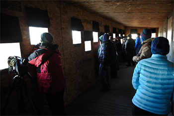 Inside the blind to view the cranes on a cold day.