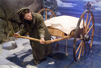 The painful trek west by Mormon handcart, as depicted in the museum in Kearney.