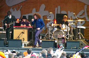 A Dutch band rocks it hard during the Holland Festival, Trafalgar Square, London.