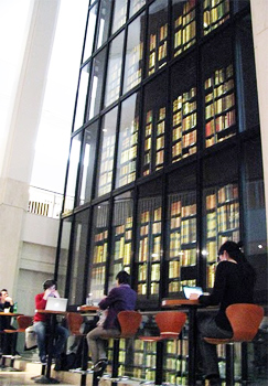 Among the British Library's huge collection is the four-storey glass tower containing the King's Library with 65,000 printed volumes, manuscripts and maps collected by King George III between 1763 and 1820. photo by FJ Napoleone.