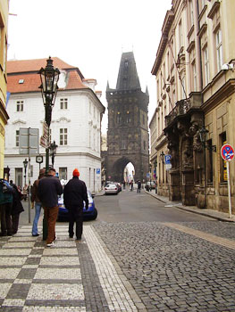 Celenta Street, one of the oldest streets in Prague, leads to Powder Tower, one of thirteen entrances into the Old Town.