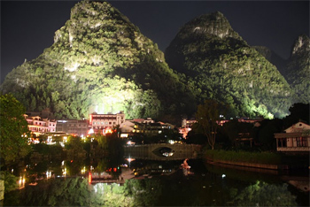 Yangshuo at night.