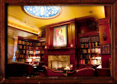 The library at the Wilde Bar and Restaurant