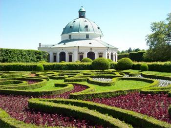 Much-photographed Italian Rotunda, Kromeriz Flower Garden