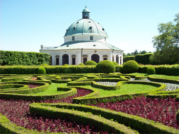 Much-photographed Italian Rotunda, Kromeriz Flower Garden