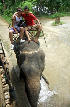 Inside the elephant sanctuary with John, one of the travel guides.