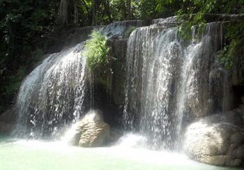 The peak of Erawan National Park. This is the final waterfall - one of seven on the trek.