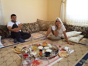 Traditional breakfast in Mardin, Turkey.