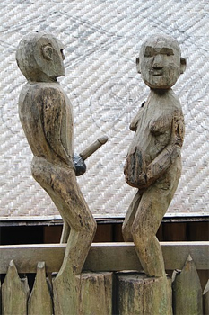 Traditional fertility statues on display at the Museum of Ethnography