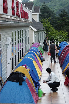Hiker's tents at the hotel at Huangshan.
