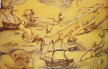 Historic map at entrance of Museum Casa in Isle del Sol