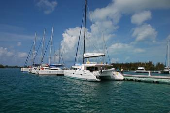 The marina in the small harbor town of Isla Del Sol
