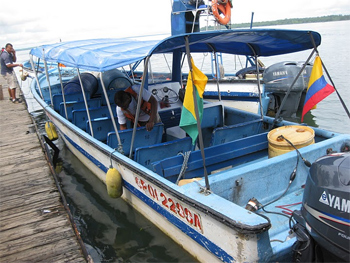 The lancha, how the author got to her coastal vacation spot in Colombia. photo by Sally Kay.