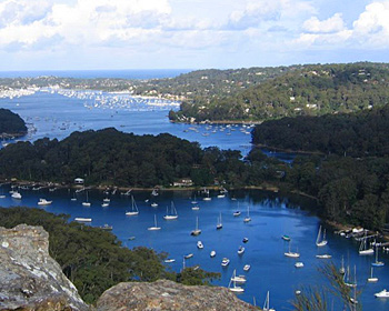 Sailboats on Pittwater from Birney Lookout in Ausstralia
