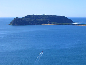 Barrenjoey Lighthouse across the bay from our lookout on the Basin Trek