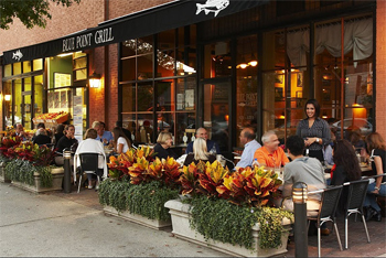 Al fresco dining at the upscale Blue Point Grill in downtown Princeton. Photo: JM restaurants.