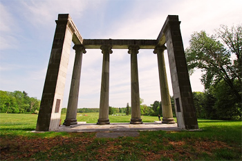 The iconic collonade in Princeton Battlefield State Park, designed by Thomas U. Walter.