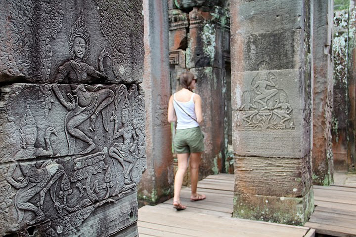 Angkor Thom, wandering the ruins and viewing bas relief depictions of ancient life. photo by Kathleen Broadhurst.