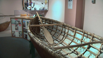 Birch bark canoe at the Sepwepemc Museum. Photo courtesy Tourism Kamloops - Tk'emlups Indian Band.