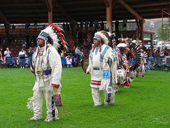 Traditional First Nations costumes. Photo courtesy Tourism Kamloops - Tk'emlups Indian Band.