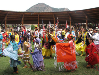 Traditional costumes at the Kamloopa Pow Wow. Photo courtesy Tourism Kamloops - Tk'emlups Indian Band.