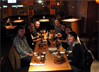 Our group gets ready for a beer tasting at the Frick and Frack Taphouse. Photo by Robin Schroffel.