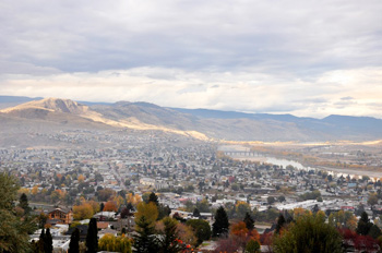A view of the Thompson River Valley and the city of Kamloops