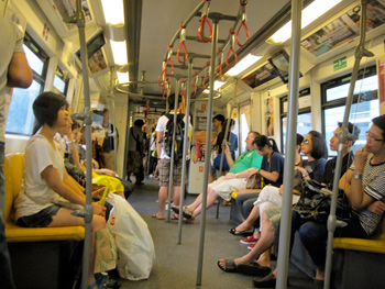 People ride the BTS Sky Train throughout Thailand. It's an easy and efficient way to travel.