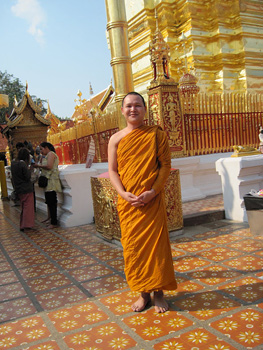 This young monk posed for a photo at the Doi Suthep Temple.