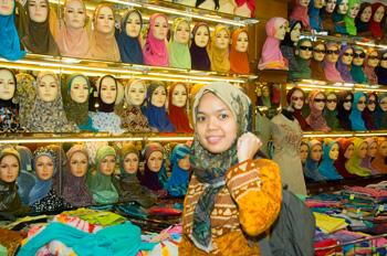 Buying Scarves on Malioboro Street in Yogyakarta