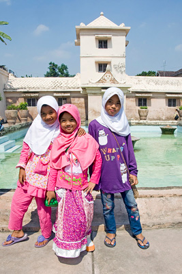 Children at Taman Sari water castle